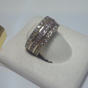 3.45ctw Pink CZ &Wht Infinity 925/14Kt Ring13443